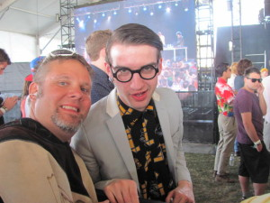 Spector frontman Fred Macpherson and blogger DJ Deep take time from their busy 2012 Coachella schedule to pose for a photograph.